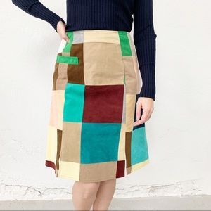 Vintage Multicolor Skirt Skort Suede Patchwork 2